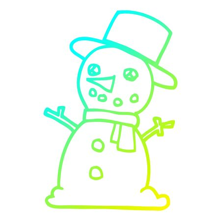 cold gradient line drawing of a cartoon snowman Illustration