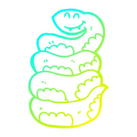 cold gradient line drawing of a cartoon snake
