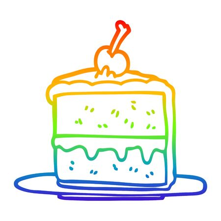 rainbow gradient line drawing of a cartoon chocolate cake Stock Illustratie