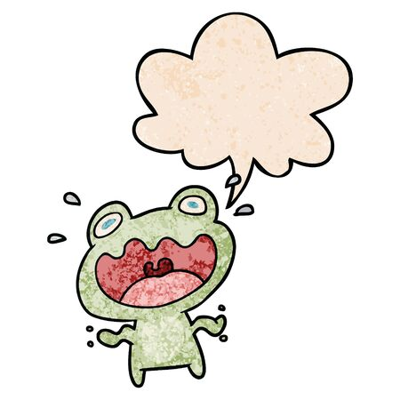 cute cartoon frog frightened with speech bubble in retro texture style