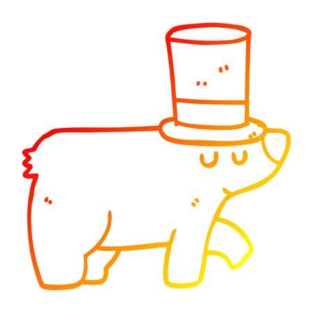 warm gradient line drawing of a cartoon bear wearing top hat