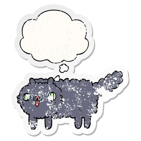 cartoon cat with thought bubble as a distressed worn sticker  イラスト・ベクター素材