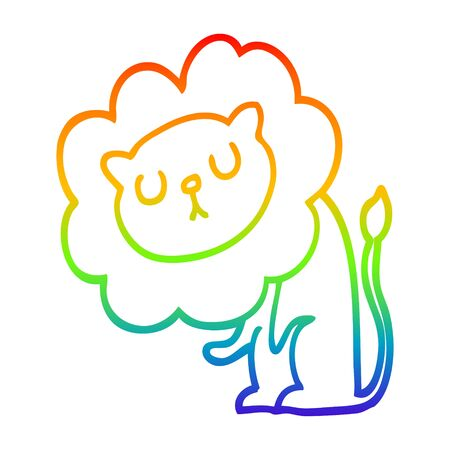 rainbow gradient line drawing of a cute cartoon lion