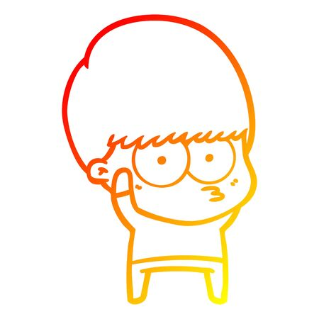 warm gradient line drawing of a nervous cartoon boy