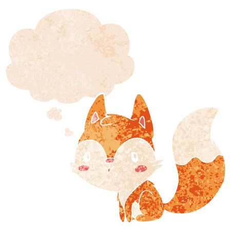 cartoon fox with thought bubble in grunge distressed retro textured style Ilustração