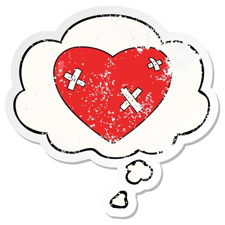 cartoon beaten up heart with thought bubble as a distressed worn sticker Banco de Imagens - 130012627
