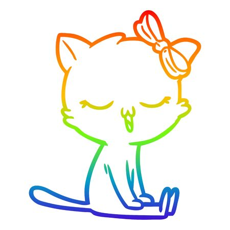 rainbow gradient line drawing of a cartoon cat with bow on head  イラスト・ベクター素材
