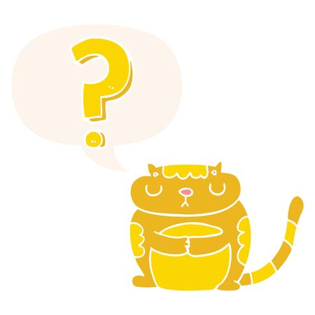 cartoon cat with question mark with speech bubble in retro style Imagens - 130012655