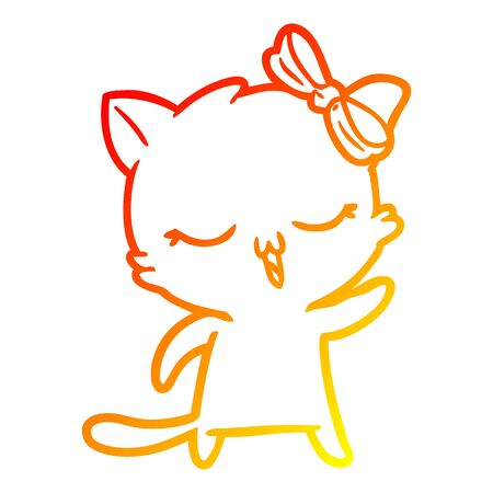 warm gradient line drawing of a cartoon cat with bow on head