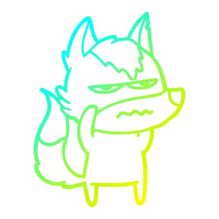 cold gradient line drawing of a cartoon annoyed wolf