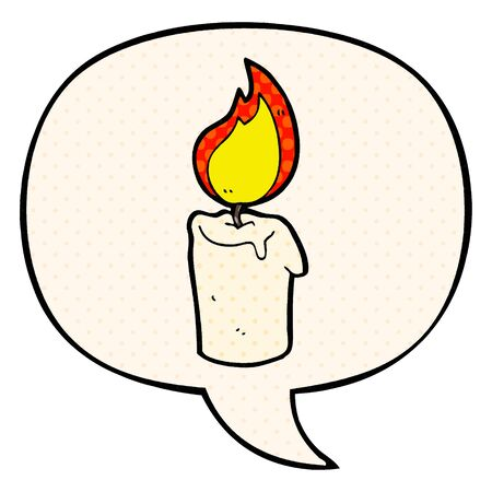 cartoon candle with speech bubble in comic book style Ilustração