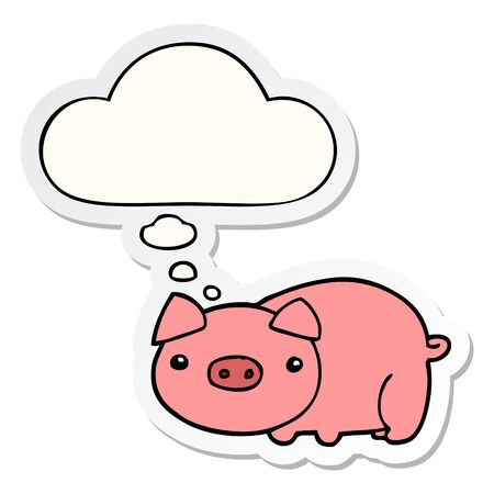 cartoon pig with thought bubble as a printed sticker Illustration
