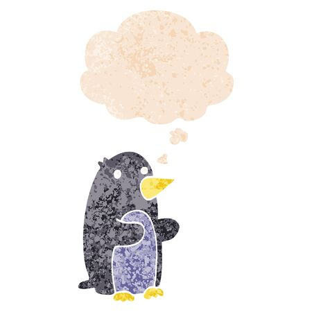cartoon penguin with thought bubble in grunge distressed retro textured style Imagens - 130012890