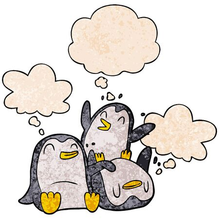 cartoon penguins with thought bubble in grunge texture style Ilustração