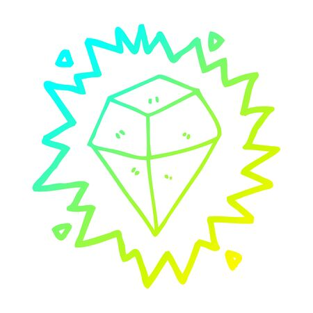 cold gradient line drawing of a cartoon shining crystal Stok Fotoğraf - 130012923