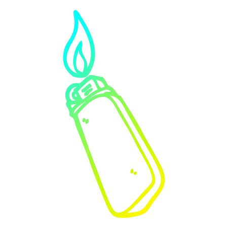cold gradient line drawing of a cartoon disposable lighter