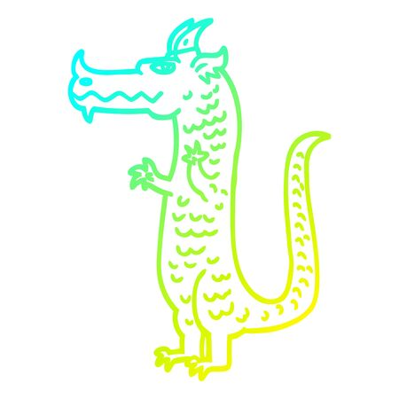 cold gradient line drawing of a cartoon dragon Фото со стока - 130012932
