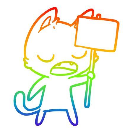 rainbow gradient line drawing of a talking cat cartoon with placard Иллюстрация