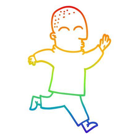 rainbow gradient line drawing of a cartoon man running