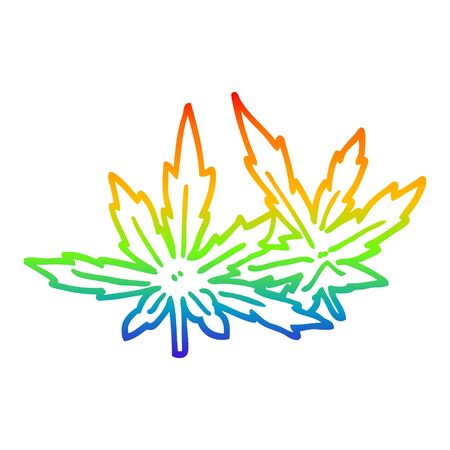 rainbow gradient line drawing of a cartoon marijuana leaves  イラスト・ベクター素材