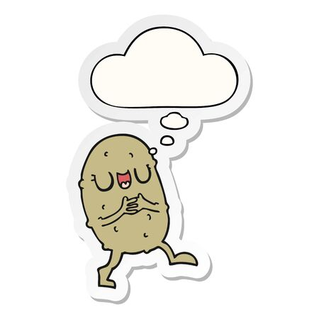 cartoon happy potato with thought bubble as a printed sticker Illustration
