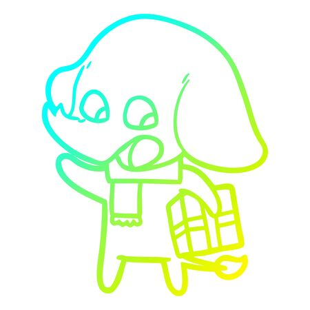 cold gradient line drawing of a cute cartoon elephant with christmas present  イラスト・ベクター素材