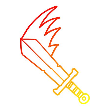 warm gradient line drawing of a cartoon swinging sword