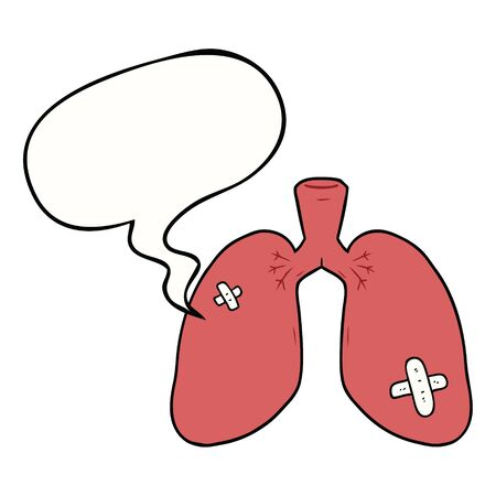 cartoon repaired lungs with speech bubble Çizim