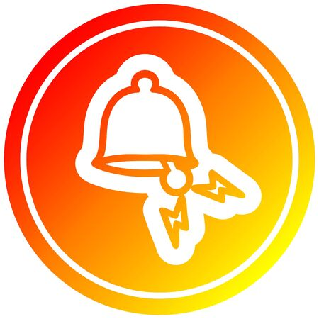 ringing bell circular icon with warm gradient finish