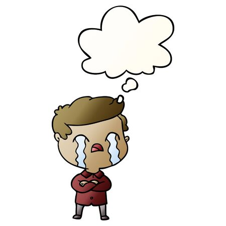 cartoon man crying with thought bubble in smooth gradient style Иллюстрация