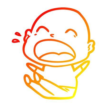 warm gradient line drawing of a cartoon shouting bald man Çizim
