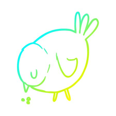 cold gradient line drawing of a cartoon pecking bird