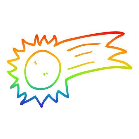 Dibujo de la línea de gradiente de arco iris de un sol volador de dibujos animados