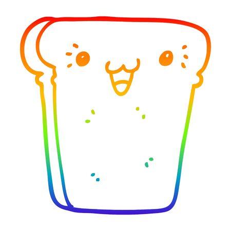 rainbow gradient line drawing of a cartoon slice of bread 写真素材 - 130008594