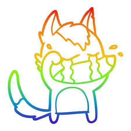 rainbow gradient line drawing of a cartoon crying wolf rubbing eyes Illusztráció