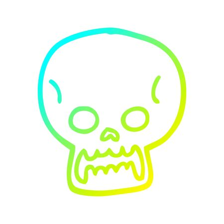 cold gradient line drawing of a cartoon halloween skull