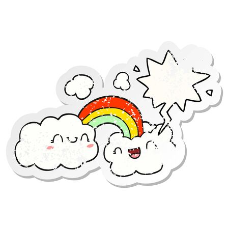 happy cartoon clouds and rainbow with speech bubble distressed distressed old sticker Çizim