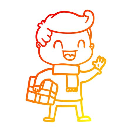 warm gradient line drawing of a cartoon laughing man holding gift