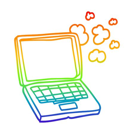 rainbow gradient line drawing of a cartoon laptop computer Иллюстрация