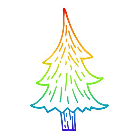 rainbow gradient line drawing of a cartoon pine trees