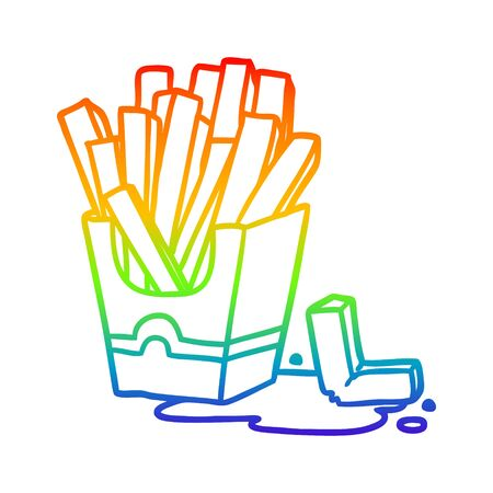 rainbow gradient line drawing of a junk food fries