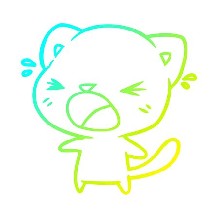 cold gradient line drawing of a cute cartoon cat crying