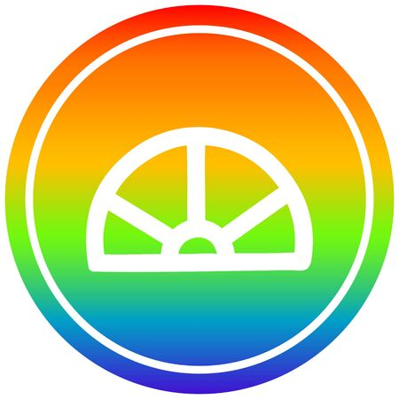 protractor math equipment circular icon with rainbow gradient finish