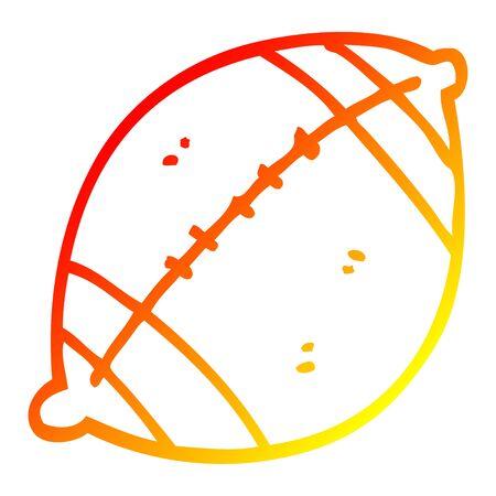 warm gradient line drawing of a cartoon football Stock Illustratie