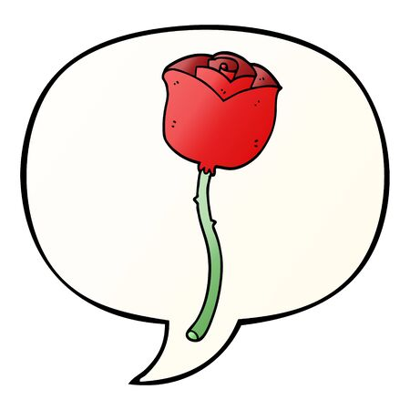 cartoon rose with speech bubble in smooth gradient style Illustration