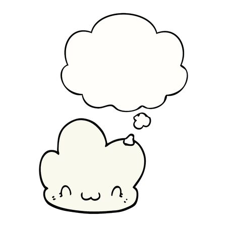 cartoon cloud with thought bubble Иллюстрация
