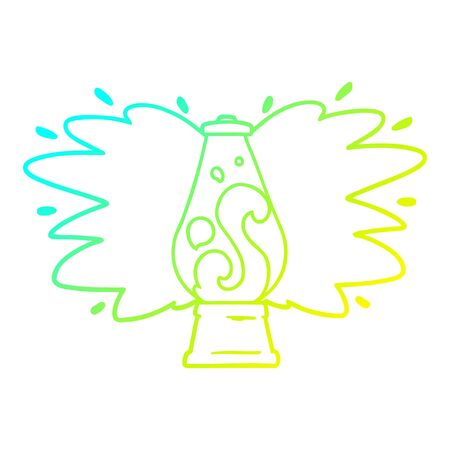 cold gradient line drawing of a cartoon retro lava lamp