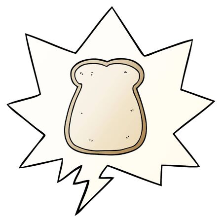 cartoon slice of bread with speech bubble in smooth gradient style