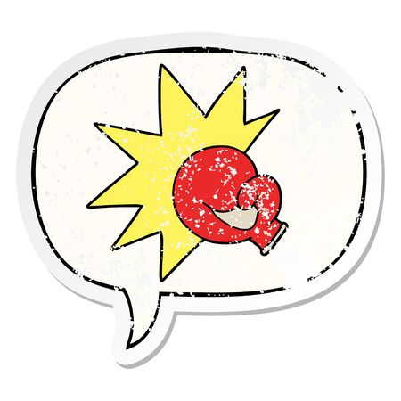 boxing glove cartoon with speech bubble distressed distressed old sticker