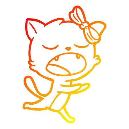 warm gradient line drawing of a cartoon yawning cat Illusztráció